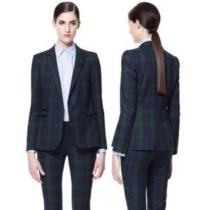 Zara Green & Navy Blue Plaid Blazer